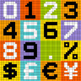 8-bit Pixel Numbers and Currencies Stock Images