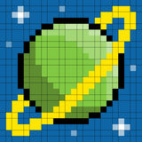 8-bit pixel planet. 8-bit pixel green planet with rings and stars vector illustration