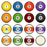 8-bit pixel pool balls. Pool / billiard balls 1-15 depicted in 8-bit pixel art Stock Photography