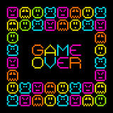 8-Bit Pixel Retro Arcade Game Over. EPS8 Vector. Each coloured assets is on a separate layer, and left as separate squares for easy manipulation. No vector illustration