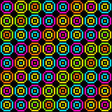8-Bit Pixel Retro Circles Pattern. EPS8 Vector. Each coloured assets is on a separate layer, and left as separate squares for easy manipulation. No vector illustration
