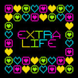 8-Bit Pixel Retro Extra Life Message. EPS8 Vector. Each coloured assets is on a separate layer, and left as separate squares for easy manipulation. No royalty free illustration