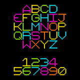8-Bit Pixel Retro Neon Alphabet Letters. EPS8 Vector. Each coloured assets is on a separate layer, and left as separate squares for easy manipulation. No vector illustration
