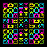 8-Bit Pixel Retro Rainbow Character Pattern. EPS8 Vector. Each coloured assets is on a separate layer, and left as separate squares for easy manipulation. No vector illustration