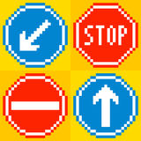 8-bit pixel road traffic signs. Keep left, stop, no entry, straight ahead royalty free illustration