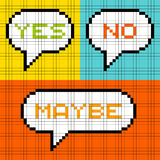 8-bit Pixel Yes No Maybe Speech Bubbles. 8-bit pixel representation of Yes No Maybe in speech bubbles. Assets are on separate layers vector illustration