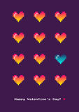 8-bit Poster With Pixel Hearts Stock Images