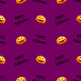 8bit pumpkin Halloween pattern. Color Stock Photos