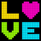 8-Bit Retro Pixel Love Heart. Each element is on a separate layer, and consist of individual squares for futher editing stock illustration