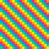8-bit seamless diagonal rainbow background tile Stock Image