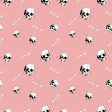 8bit Skull pattern pink. Background vector illustration