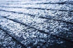 A bit of snow on asphalt shingles. Seasonal background a bit of snow on asphalt shingles stock photography