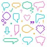 Bit-Sprache-Blasen-Farbikonen der Pixel-Kunst-8 eingestellt Vektor lizenzfreie abbildung