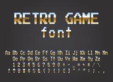 Bit visuel du concepteur du jeu 8 d'ordinateur de rétro police de pixel illustration stock