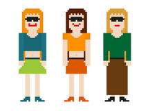 8bit women set. Set of three 8bit women - differs with their clothes and smiles Royalty Free Stock Image