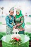 Bitande bröllopstårta Royaltyfria Bilder