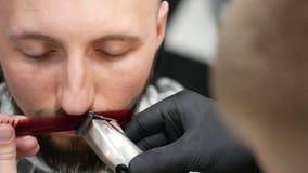 Bitande mustasch med en hårkam och en rakapparat royaltyfria foton