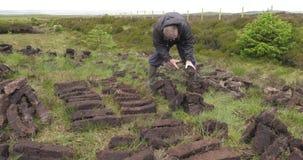 Bitande och passande torvatorv med en spade i mossamyr i Irland arkivfilmer