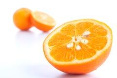 Bitande orange frukt Arkivbild