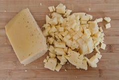 Bitande ost - matingredienser Royaltyfria Bilder
