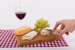 Bitande ost på ett träbräde med vinexponeringsglas Arkivbild