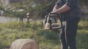 Bitande trä med chainsawen stock video