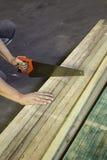 Bitande trä med handen med en såg royaltyfri fotografi