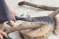 Bitande trä för skogsarbetareman Arkivfoton