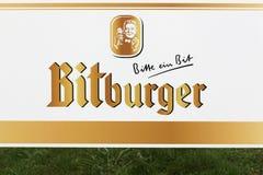 Bitburger logo na ścianie obrazy stock