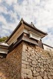 Bitchu松山城堡,高桥,日本壁角塔  库存图片