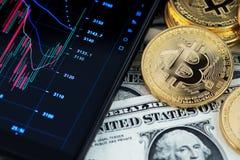 Bitcoin一美元cryptocurrency和钞票在手机陈列烛台图旁边的 免版税库存照片