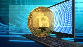 Bitcoin、屏幕和键盘在蓝色,数字式,二进制,网络背景 库存照片