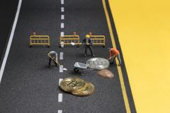 bitcoin下落图,图开采了 免版税库存照片