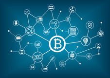 Bitcoin例证有深蓝背景 库存图片
