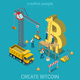 Bitcoin创作过程货币硬币平的等量传染媒介3d 图库摄影