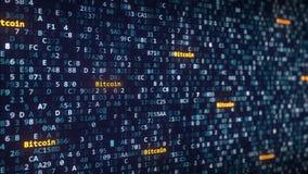 Bitcoin加说明出现在改变在屏幕上的十六进制标志中 3d翻译 免版税图库摄影