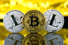 Bitcoin和Litecoin,新的真正金钱的物理版本 免版税库存照片