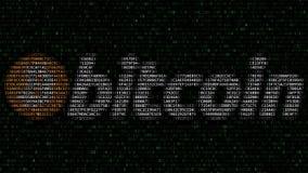 Bitcoin商标由闪动的十六进制标志做成在屏幕 Cryptocurrency关系了3D翻译 库存图片