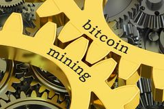 Bitcoin在大齿轮的采矿概念, 3D翻译 免版税图库摄影