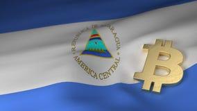 Bitcoin在尼加拉瓜的旗子的货币符号 皇族释放例证