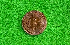 Bitcoin在绿色背景的金币 库存图片