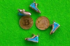 Bitcoin在绿色背景的金币 库存照片