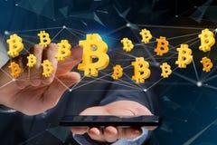 Bitcoin在网络连接附近的标志飞行- 3d回报 库存图片