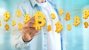 Bitcoin在网络连接附近的标志飞行- 3d回报 图库摄影