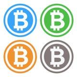 Bitcoin在4种颜色的标志例证 向量例证