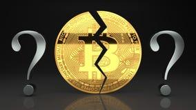 Bitcoin崩溃、泡影爆炸,问题关于货币未来和它` s市场价 库存图片