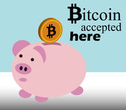 Bitcoin接受了得这里 免版税库存图片