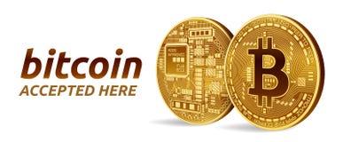 Bitcoin接受了标志象征 3D与被接受的文本的等量物理位硬币这里 隐藏货币 与bitcoin s的金黄硬币 皇族释放例证