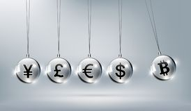 Bitcoin数字式货币,美元,欧元,英镑,日元 库存例证