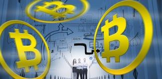 bitcoin数字式cryptocurrency的标志的综合图象 库存照片